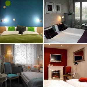 """Auswahl unserer individuell gestalteten Gästezimmer (""""Flower Power"""", """"Die Farbe Lila"""", """"Frauenzimmer"""", """"Kaminzimmer"""")"""